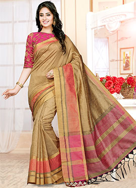 Beige Art Silk Saree