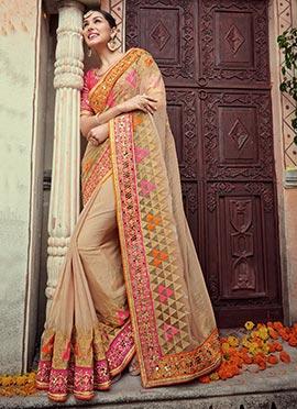Beige Art Silk Saree
