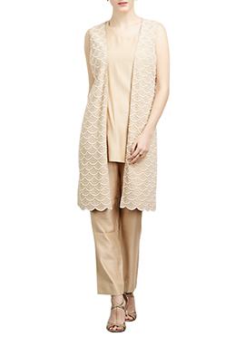 Beige Art Silk Straight Pant Set