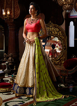 Beige Art Silk Umbrella Lehenga