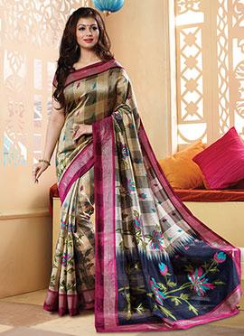 Beige Ayesha Takia Printed Saree