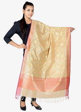 Beige Benarasi Silk Dupatta
