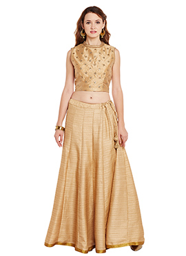 Beige Bhagalpuri Art Dupion Silk Skirt Set