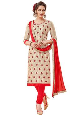 Beige Bhagalpuri Art Silk Churidar Suit
