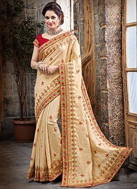 Beige Bhagalpuri Art Silk Saree