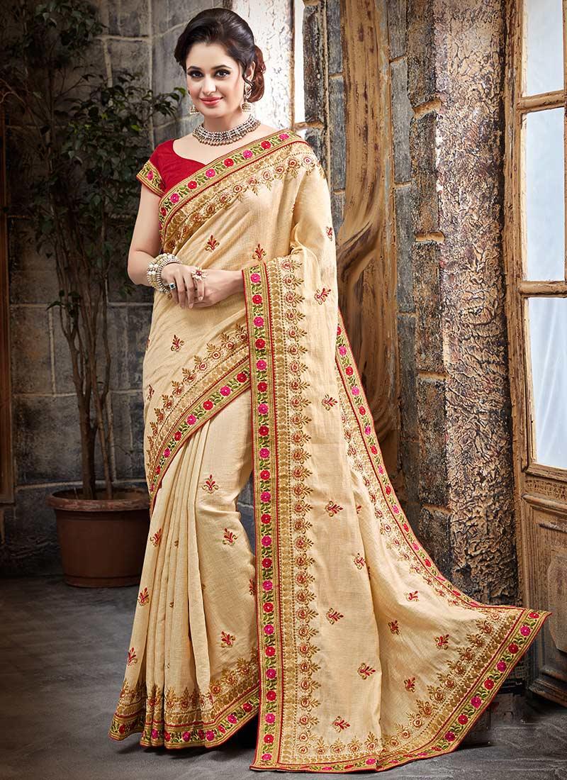 Buy Beige Bhagalpuri Art Silk Saree Embroidered