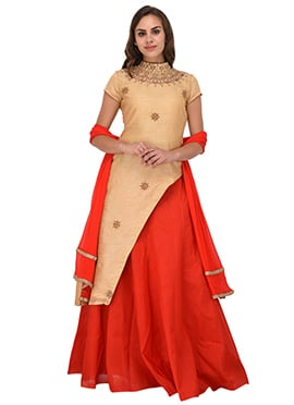 Beige Bhagalpuri Art Silk Umbrella Lehenga