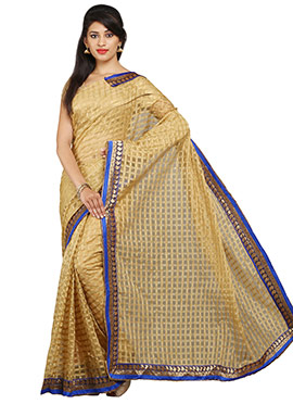 Beige Blended Cotton Check Patterned Saree