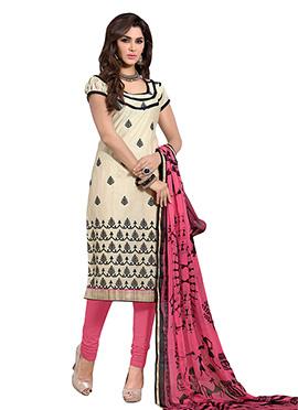 Beige Blended Cotton Churidar Suit