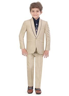 Beige Blended Cotton Kids Suit