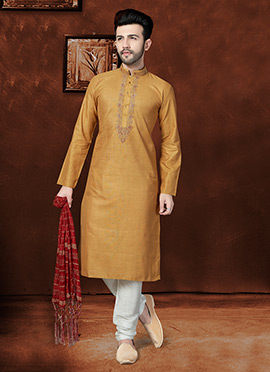 Beige Blended Cotton Kurta Pyjama