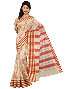 Beige Blended Cotton Mangalgiri Saree