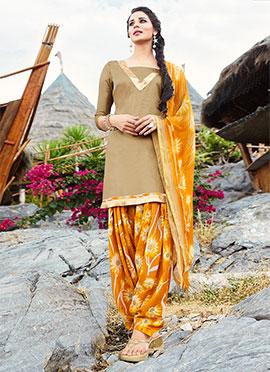 Beige Blended Cotton Salwar Suit