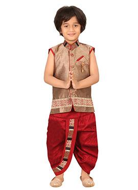 Beige Brasso Silk Blend Boys Dhoti Kurta