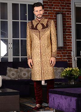 Beige Breeches Style Chipkan Sherwani