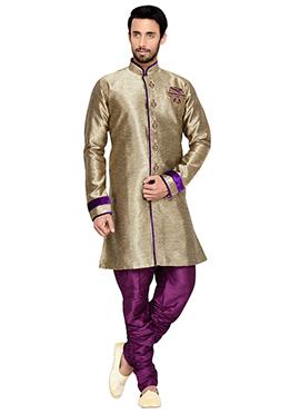 Beige Breeches Style Indowestern Sherwani
