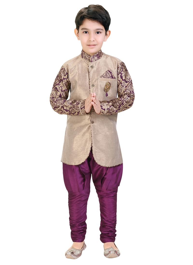 Buy Beige Breeches Style Kids Sherwani boys sherwani