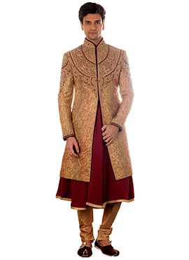 Beige Brocade Anarkali Style Sherwani