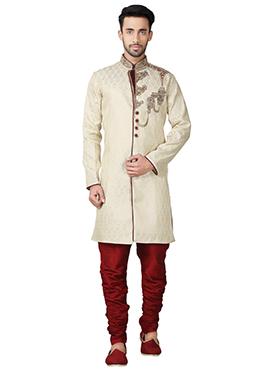 Beige Brocade Breeches Style Indowestern Sherwani