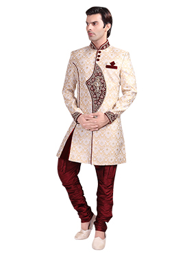 Beige Brocade Breeches Style Sherwani