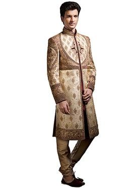 Beige Brocade Embroidery Enhanced Sherwani