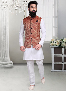 Beige Brocade Foliage Designed Nehru Jacket