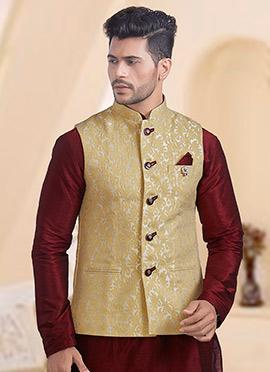 Beige Brocade Nehru Jacket