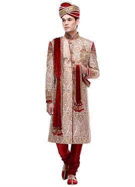 Beige Brocade Silk Sherwani