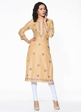 Beige Chanderi Blended Cotton Kurti
