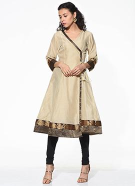 Beige Chanderi Cotton Angaraka Style Kurti