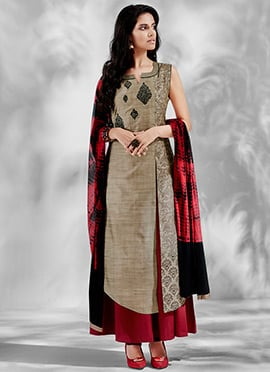 Beige Chanderi Silk Anarkali Suit