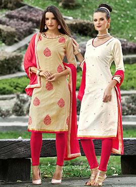 Beige Chanderi Silk Churidar Suit