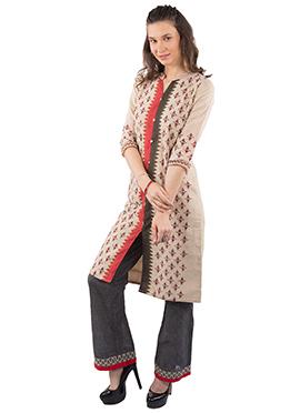 Beige Chanderi Silk Cotton Kurti