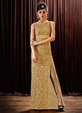 Beige Chiffon Anarkali Gown