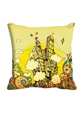 Beige City Clouds Cushion Cover
