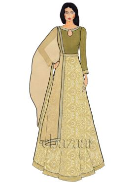 Beige Close Collar Jacquard Art Silk Abaya Suit