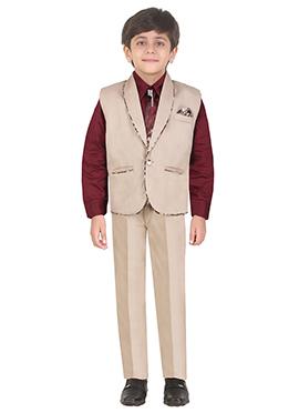 Beige Cotton Kids Suit