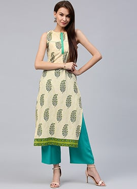 Beige Cotton Long Kurti