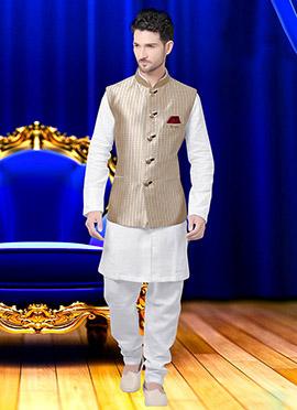 Beige Cotton Nehru Jacket