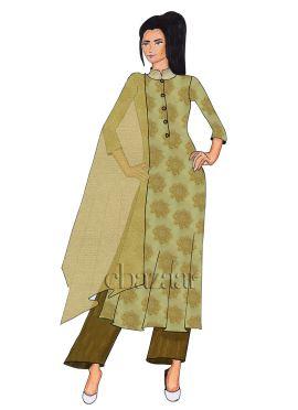 Beige Cotton Palazzo Suit