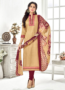 Beige Cotton Rayon Churidar Suit