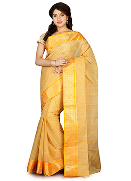 Beige Bengal Handloom Tant Saree