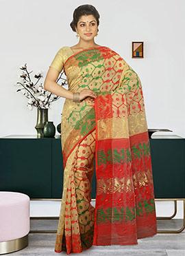 Beige Cotton Silk Jamdani Saree