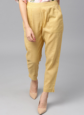 Beige Cotton Straight Pant