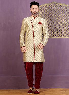 Beige Dhoti Style Achkan Sherwani