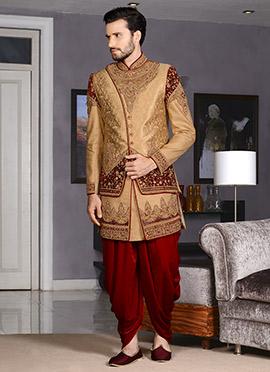 Beige Dhoti Style Indo Western Sherwani