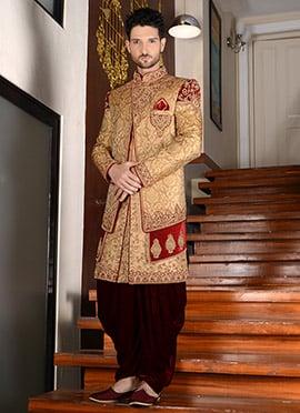 Beige Dhoti Style Layered Indo Western Sherwani