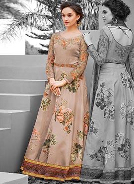 Beige Digital Printed Gown