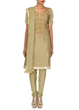 Beige Embellished Silk Cotton Churidar