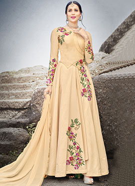 Beige Embroidered Abaya Style Anarkali Suit